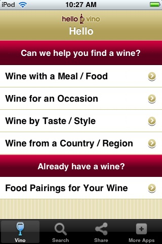 Wine iPhone App: Hello Vino