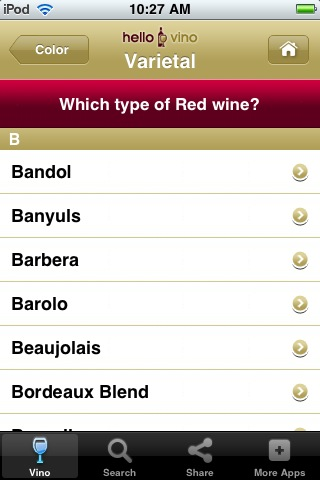 Wine iPhone App: Food Pairings for Red Wine