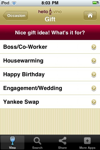 Wine iPhone App: Wine Gifts