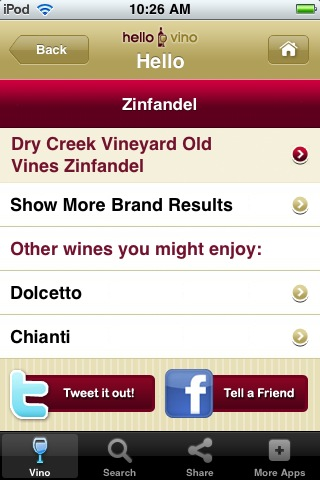 Wine iPhone App: Pairings