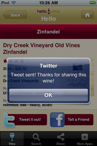 Wine iPhone App: Share on Twitter