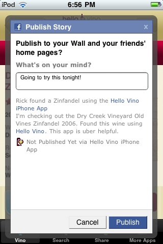 Wine iPhone App: Share on Facebook