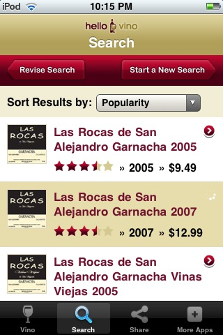 Wine iPhone App: Search for Wines