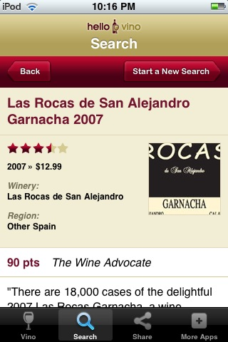 Wine iPhone App: Wine Search Results