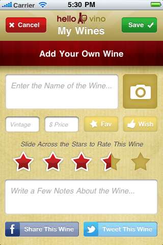 Add Your Own Wines - Quickly snap a pic and jot a note to never forget another wine